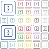 mirror object around horizontal axis outlined flat color icons - mirror object around horizontal axis color flat icons in rounded square frames. Thin and thick versions included.
