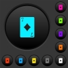 Seven of diamonds card dark push buttons with color icons - Seven of diamonds card dark push buttons with vivid color icons on dark grey background