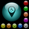 Disability accessibility GPS map location icons in color illuminated glass buttons - Disability accessibility GPS map location icons in color illuminated spherical glass buttons on black background. Can be used to black or dark templates