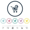 Checkout with Euro cart flat color icons in round outlines - Checkout with Euro cart flat color icons in round outlines. 6 bonus icons included.