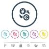 Yen Euro money exchange flat color icons in round outlines - Yen Euro money exchange flat color icons in round outlines. 6 bonus icons included.