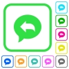 Reply message vivid colored flat icons - Reply message vivid colored flat icons in curved borders on white background