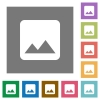 Single image square flat icons - Single image flat icons on simple color square backgrounds