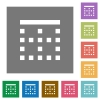 Top border square flat icons - Top border flat icons on simple color square backgrounds