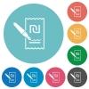Signing new Shekel cheque flat white icons on round color backgrounds - Signing new Shekel cheque flat round icons