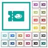 Paint shop discount coupon flat color icons with quadrant frames - Paint shop discount coupon flat color icons with quadrant frames on white background