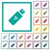 Wireless usb stick flat color icons with quadrant frames - Wireless usb stick flat color icons with quadrant frames on white background