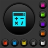 Pocket calculator dark push buttons with color icons - Pocket calculator dark push buttons with vivid color icons on dark grey background
