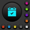 Schedule done dark push buttons with color icons - Schedule done dark push buttons with vivid color icons on dark grey background