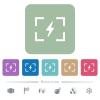 Camera flash mode flat icons on color rounded square backgrounds - Camera flash mode white flat icons on color rounded square backgrounds. 6 bonus icons included