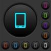 Mobile phone with blank display dark push buttons with color icons - Mobile phone with blank display dark push buttons with vivid color icons on dark grey background