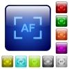 Camera autofocus mode color square buttons - Camera autofocus mode icons in rounded square color glossy button set