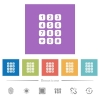 Numeric keypad flat white icons in square backgrounds. 6 bonus icons included. - Numeric keypad flat white icons in square backgrounds