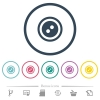 Dress button with 2 holes flat color icons in round outlines - Dress button with 2 holes flat color icons in round outlines. 6 bonus icons included.