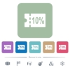 10 percent discount coupon flat icons on color rounded square backgrounds - 10 percent discount coupon white flat icons on color rounded square backgrounds. 6 bonus icons included
