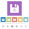File warning flat white icons in square backgrounds. 6 bonus icons included. - File warning flat white icons in square backgrounds