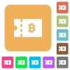 Bitcoin discount coupon rounded square flat icons - Bitcoin discount coupon flat icons on rounded square vivid color backgrounds.