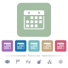 Hanging calendar flat icons on color rounded square backgrounds - Hanging calendar white flat icons on color rounded square backgrounds. 6 bonus icons included