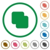 Add shapes flat icons with outlines - Add shapes flat color icons in round outlines on white background
