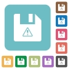 File warning rounded square flat icons - File warning white flat icons on color rounded square backgrounds