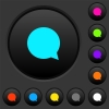 Blank chat bubble dark push buttons with color icons - Blank chat bubble dark push buttons with vivid color icons on dark grey background