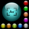 Camera aperture value mode icons in color illuminated glass buttons - Camera aperture value mode icons in color illuminated spherical glass buttons on black background. Can be used to black or dark templates