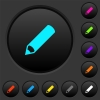 Pencil dark push buttons with color icons - Pencil dark push buttons with vivid color icons on dark grey background