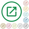 Launch application flat icons with outlines - Launch application flat color icons in round outlines on white background