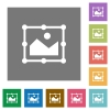 Image free transform square flat icons - Image free transform flat icons on simple color square backgrounds