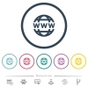 WWW globe flat color icons in round outlines. 6 bonus icons included. - WWW globe flat color icons in round outlines