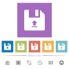 Upload file flat white icons in square backgrounds - Upload file flat white icons in square backgrounds. 6 bonus icons included.
