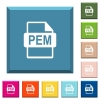 PEM file format white icons on edged square buttons - PEM file format white icons on edged square buttons in various trendy colors