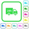 24 hour delivery truck vivid colored flat icons - 24 hour delivery truck vivid colored flat icons in curved borders on white background