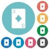 Three of diamonds card flat round icons - Three of diamonds card flat white icons on round color backgrounds