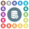 Database functions flat white icons on round color backgrounds - Database functions flat white icons on round color backgrounds. 17 background color variations are included.