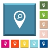 Find GPS map location white icons on edged square buttons - Find GPS map location white icons on edged square buttons in various trendy colors