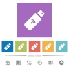 Wireless usb stick flat white icons in square backgrounds - Wireless usb stick flat white icons in square backgrounds. 6 bonus icons included.