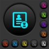 Contact processing dark push buttons with color icons - Contact processing dark push buttons with vivid color icons on dark grey background