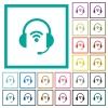 Wireless headset flat color icons with quadrant frames - Wireless headset flat color icons with quadrant frames on white background
