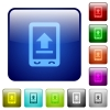Mobile upload icons in rounded square color glossy button set - Mobile upload color square buttons