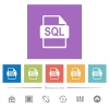SQL file format flat white icons in square backgrounds. 6 bonus icons included. - SQL file format flat white icons in square backgrounds