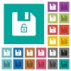 Unlock file square flat multi colored icons - Unlock file multi colored flat icons on plain square backgrounds. Included white and darker icon variations for hover or active effects.