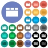 Horizontal tabbed layout round flat multi colored icons - Horizontal tabbed layout multi colored flat icons on round backgrounds. Included white, light and dark icon variations for hover and active status effects, and bonus shades.
