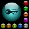 2048 bit rsa encryption icons in color illuminated glass buttons - 2048 bit rsa encryption icons in color illuminated spherical glass buttons on black background. Can be used to black or dark templates