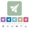 Space shuttle flat icons on color rounded square backgrounds - Space shuttle white flat icons on color rounded square backgrounds. 6 bonus icons included