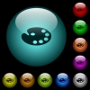 Color palette icons in color illuminated glass buttons - Color palette icons in color illuminated spherical glass buttons on black background. Can be used to black or dark templates