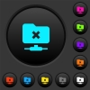 FTP cancel operation dark push buttons with color icons - FTP cancel operation dark push buttons with vivid color icons on dark grey background