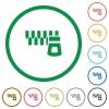 Horizontal zipper flat icons with outlines - Horizontal zipper flat color icons in round outlines on white background