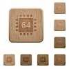 Microprocessor 64 bit architecture wooden buttons - Microprocessor 64 bit architecture on rounded square carved wooden button styles