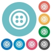 Dress button with 4 holes flat round icons - Dress button with 4 holes flat white icons on round color backgrounds
